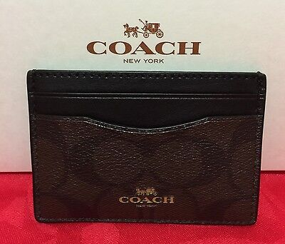 NEW Coach Signature PVC Card Case/Holder Brown/Black  F63279 $65