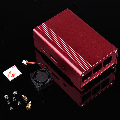 Red Aluminum Alloy Case Shell Enclosure Box + Fan for Raspberry Pi 2 B+ PI 3
