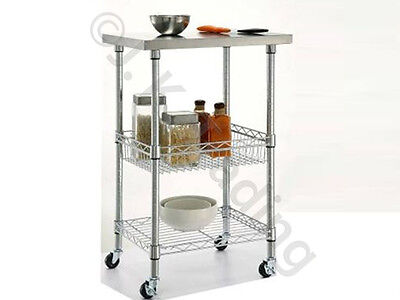 Kitchen Trolley Stainless Steel Top New in Box Minor Cosmetic Defects Sold As Is