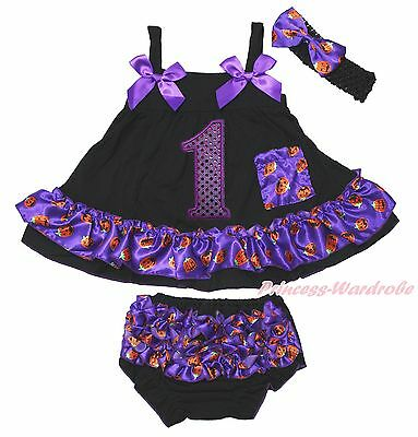 Birthday 1ST Halloween Baby Girls Elegant Pumpkin Swing Top Bloomer Outfit NB-2Y