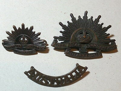 AUSTRALIA  MILITARY FORCES COMMONWEALTH  WW2 Rising Sun 3 BADGES / CUP