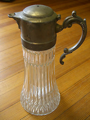 Large Vintage/Antique Wine Claret Jug Pressed Glass Silverplate(?)/no Hallmarks
