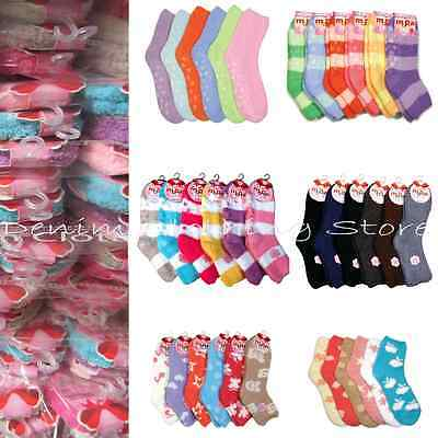 Wholesale Lot Warm Solid Strip Plain Fuzzy Non Skid Socks Winter Slipper Socks