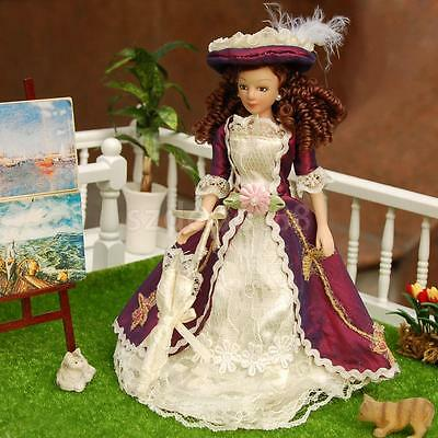Dollhouse Miniature Victorian Porcelain Doll Lady Girl in Purple Dress Stand
