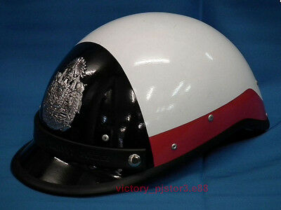 Neu!! Casco Elmetto-Municipal-Motorcycle Helmet White Black-Red- Half-Schwarz!