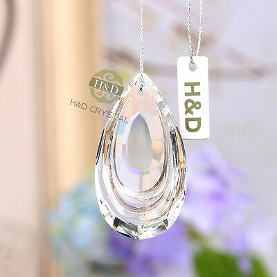 5 Pcs Chandelier  Crystal Lamp Prisms Parts Hanging Drops Pendants 38mm +5 Rings