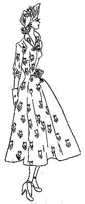 """Clear stamp 2.5/""""x3/"""" Girl in Flowered Dress FLONZ vintage unmounted acrylic"""