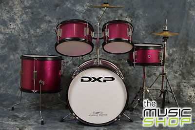 New DXP Pink Junior Drum Kit 5 Piece Kids Drumkit + Stool  - Beginners Drum Set