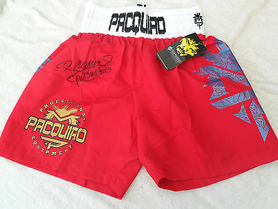 MANNY PACQUIAO SIGNED BOXING TRUNKS Photo Proof! COA Buy Genuine PRIVATE SIGNING