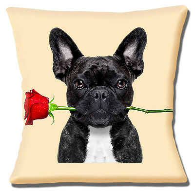 """BLACK WHITE FRENCH BULLDOG HOLDING RED ROSE PHOTO PRINT 16"""" Pillow Cushion Cover"""