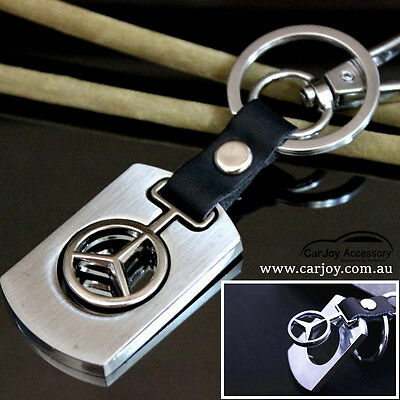 Real Leather Stainless Steel Key Ring Metal Mercedes Benz Car Logo Keyring Chain