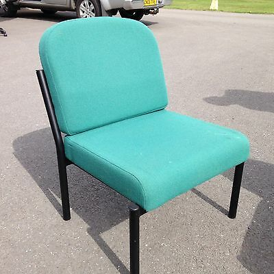 Office Reception hall chair - Green fabric metal frame - Commercial grade used