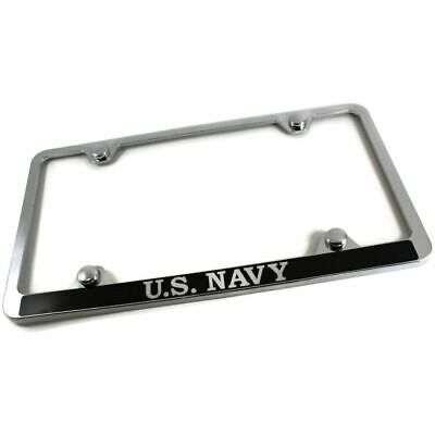 USA Navy Slim ABS Plastic License Plate Tag Frame Mirror Chrome /w Screw Cap