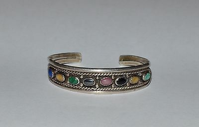 Navajo Robert Johnson Rmj Sterling Silver And Multiple Stones Cuff Bracelet