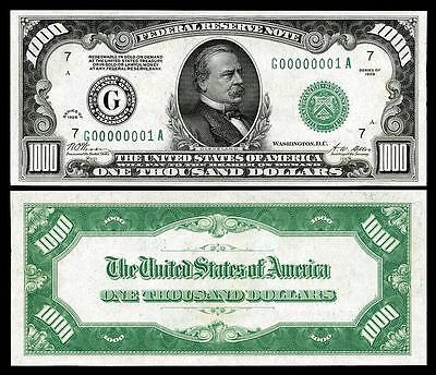 Nice Crisp 1928 $1,000 U.s. Federal Reserve Copy Banknote! Please Read Descri