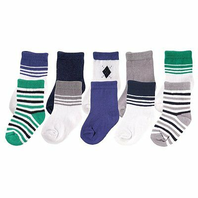 Luvable Friends Baby Boys 10-Pair Socks Gift Set Blue  0 - 9 Months New