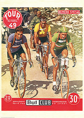 "Cycling Poster Vintage French Retro ""Tour de France"" 1949 Bartali, Cyclist Gift"