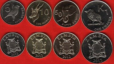Zambia set of 4 coins: 5 ngwee - 1 kwacha 2012 UNC