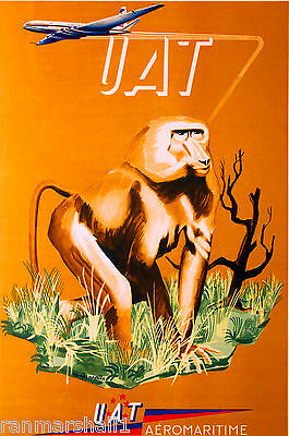 African Afrique Baboon Airplane Africa Vintage Travel Art Poster Advertisement