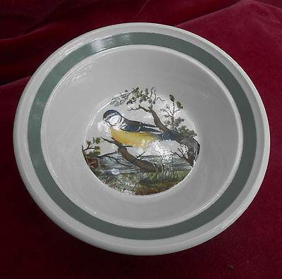 "Portmeirion Birds Of Britain Rim Cereal Bowl S Blue Tit 6 1/2"" Green Band"