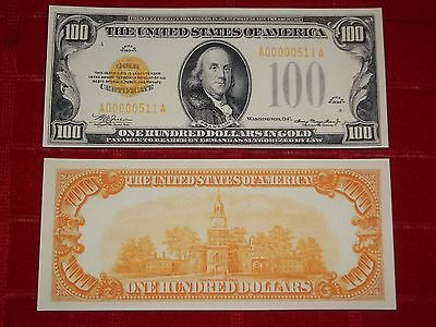 Nice Crisp 1934 $100.00 Gold Certificate Copy Banknote Read Description!