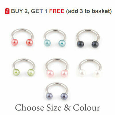 PEARL Horseshoe Bar Circular Barbell 3mm Balls 16G Septum Nipple Nose Lip 6-10mm