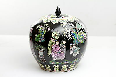 Antique Chinese Porcelain Tongzhi  Noir Ginger Jar with Lid
