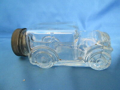 Vintage Antique Car Glass Candy Bottle Container With Cap