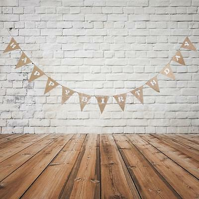 Rustic Burlap Hessian HAPPY BIRTHDAY Banner Bunting Party Hanging Decoration