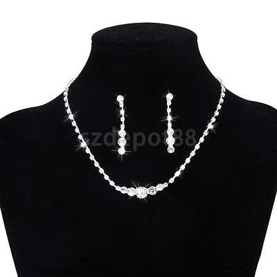 Crystal Diamante Necklace Earring Wedding Bridal Bridesmaid Prom Jewelry Set