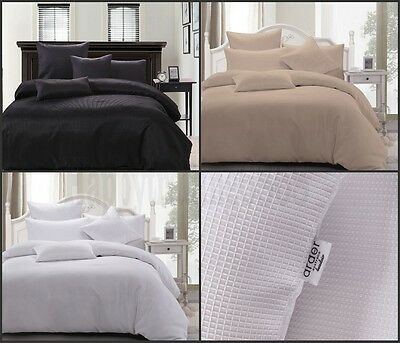 Waffle Weave King Queen Double Single Quilt Doona Cover Set * White Linen Black