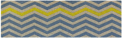 CHEVRON Blue Natural Yellow Modern Grey LONG Mat design 100% Coir Doormat / Mat