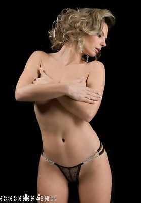 7632 BROOKE Perizoma G String Mini Micro Tanga in Pizzo Nero Decorato con Strass