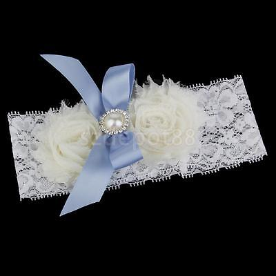 Crystal & Blue Bow Flower White Sexy Elastic Lace Wedding Bridal Toss Garter