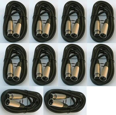 12 lot 10ft xlr male female 3pin MIC Shielded Cable microphone audio cord pack