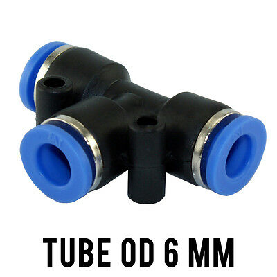 1 Lot of 10 Tee Union Pneumatic Push In Fitting Tube OD 6 mm