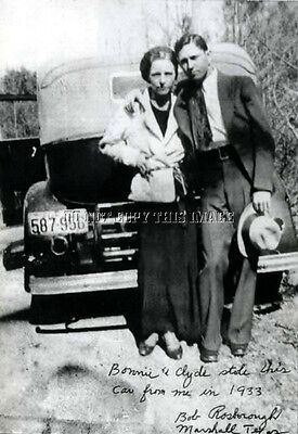 ANTIQUE 8 x 10 REPRINT PHOTO OF FAMED BONNIE AND CLYDE WITH A STOLEN CAR #2
