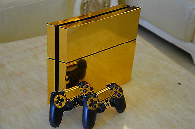 Decal Skin Sticker For PS4 Playstation 4 Console+ Controller Electroplating Gold