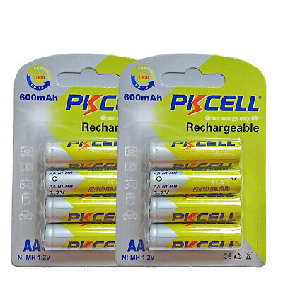 8 AA NI-MH Rechargeable Batteries 1.2V 600mAh Battery For Solar LED Light PKCELL