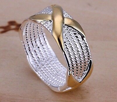 925 Sterling Silver 18K Yellow Gold Plated Ring Band Size 9 Women Men Jewelry