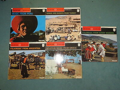 5x Philips:  song and sound the world around.. Folkmusic from Turkey Greece Peru