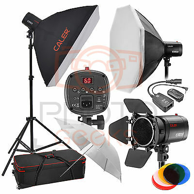 Flash Softbox Lighting Kit - 750w (3x250w) JINBEI 3 Head Studio Strobe Photo Set
