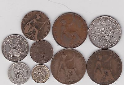 1918 George V Set Of 9 Coins In Fine To Good Very Fine Condition