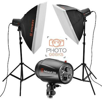 Flash Studio Lighting Kit - 400w (2x200w) JINBEI Softbox Photography Strobe Set