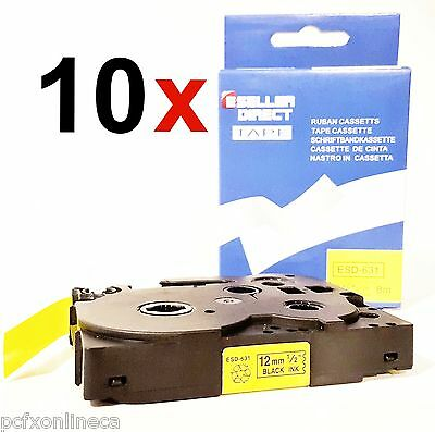 10x Orig. Eseller Black on Yellow 12mm Label Tape Compatible for Brother TZ631
