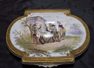 Antique French Sevres Napoleonic Porcelain Bronze Gold Hand Painted Jewelry Box