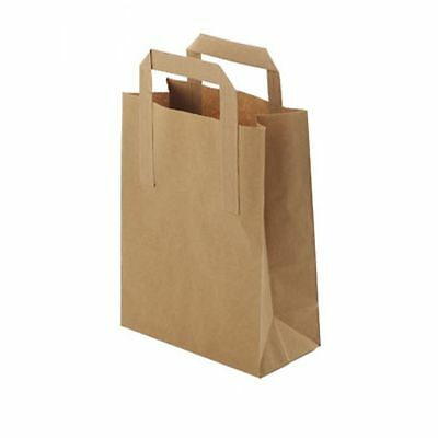 "25 Small Brown Paper Takeaway Bags SOS With Handles 7x10x8.5"" Kraft Packed Lunch"