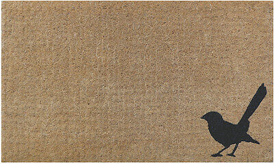 Natural Willy Wagtail BIRD Retro Vintage - 100% Coir Doormat / Door Mat Modern