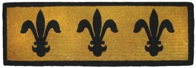 French Fleur De Lys Theme Natural Black - 100% Coir Doormat / Door Mat LONG