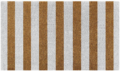 WHITE & Natural Stripes Design Sleek Contemporary 100% Coir Doormat / Door Mat
